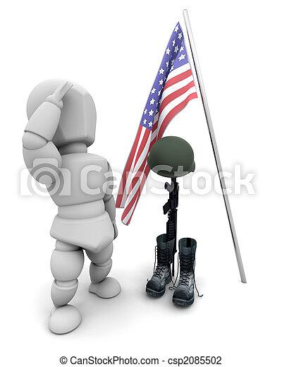 soldat, tribut, baissé - csp2085502