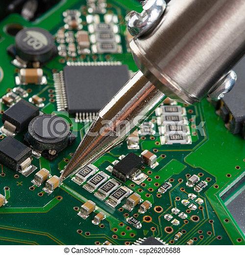 soldering, microcircuito, tiro, estúdio, ferro - csp26205688