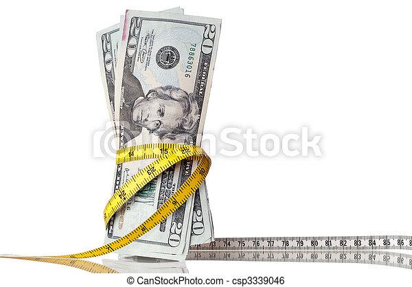 soldi, americano, nastro, intorno, misura - csp3339046