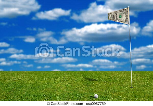 soldi, bandiera, palla, golf - csp0987759