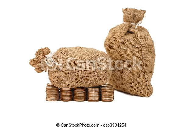 soldi, bianco, monete, isolato, borsa - csp3304254