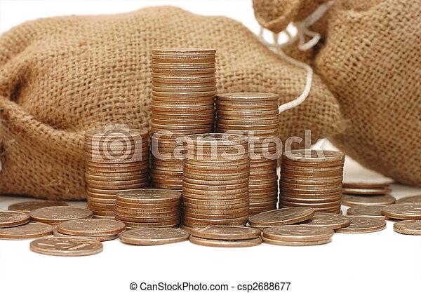 soldi, bianco, monete, isolato, borsa - csp2688677