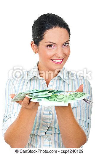 soldi, donna, felice, offerta - csp4240129
