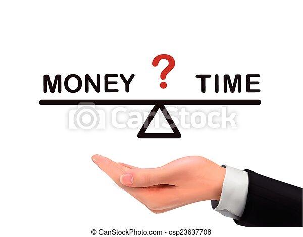 soldi, fra, mano, realistico, presa a terra, tempo, equilibrio - csp23637708