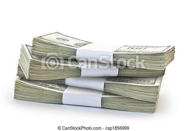 soldi, mucchio, isolato, grande - csp1856999
