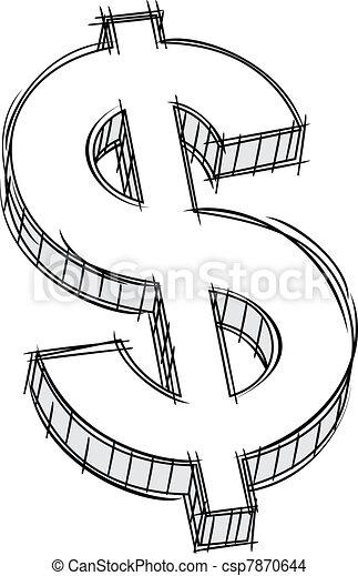 soldi, segno, scarabocchiare - csp7870644