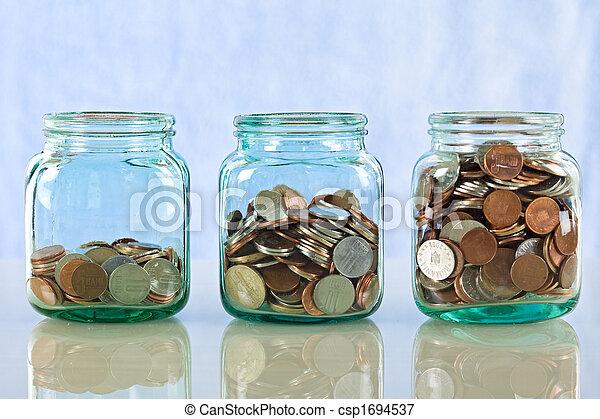 soldi, vasi, vecchio, risparmio - csp1694537
