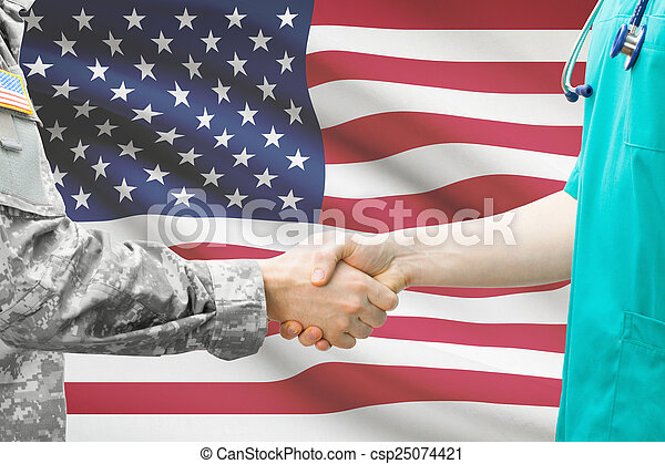 Soldier and doctor shaking hands with flag on background - United States - csp25074421