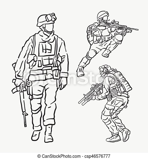 Soldier Army Action Hand Drawing Good Use For Symbol Web