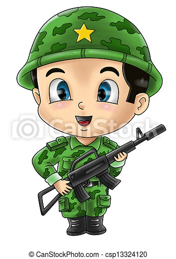 soldier cute cartoon illustration of a soldier rh canstockphoto com clipart soldiers clipart soldier saluting