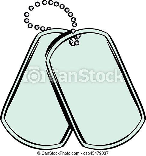 Soldier identity tag icon cartoon - csp45479037