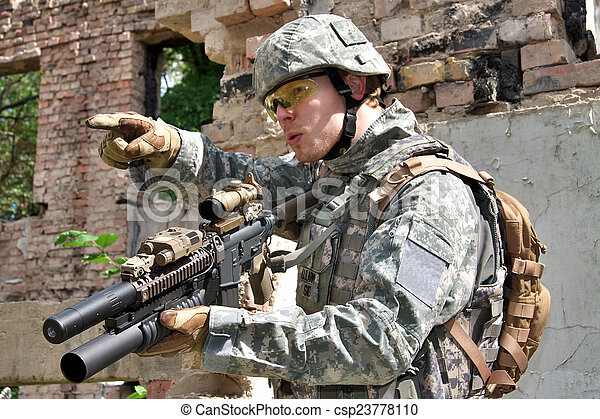 Soldier in action - csp23778110