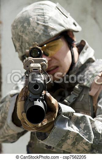 Soldier in action - csp7562205