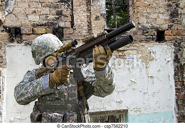 Soldier in action - csp7562210