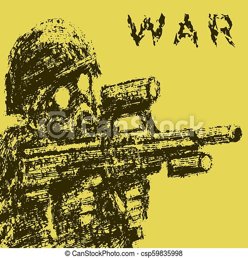 Soldier in gas mask aiming from assault rifle. Vector illustration. - csp59835998