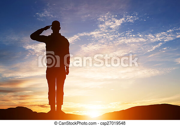 Soldier salute. Silhouette on sunset sky. Army, military. - csp27019548