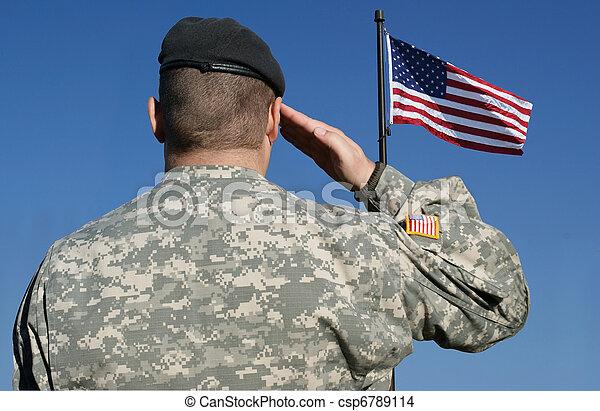 Soldier Salutes Flag - csp6789114