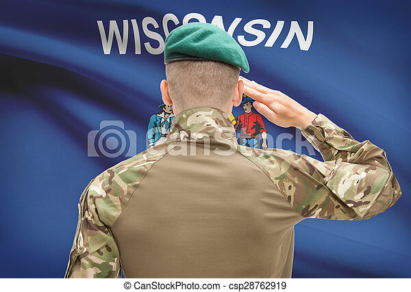 Soldier saluting to USA state flag conceptual series - Wisconsin - csp28762919