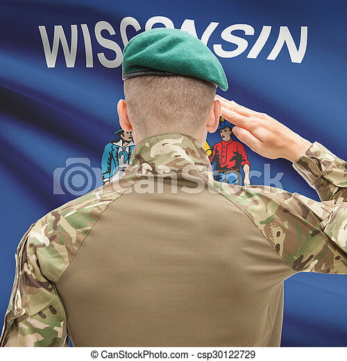 Soldier saluting to USA state flag conceptual series - Wisconsin - csp30122729