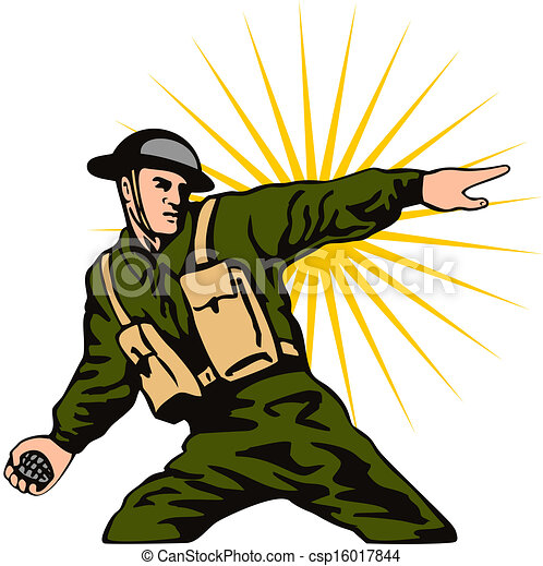 soldier throwing grenade illustration of soldier throwing rh canstockphoto com French Hand Grenades Army Hand Grenades