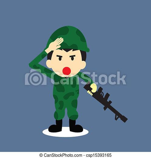Soldier vector cartoon - csp15393165