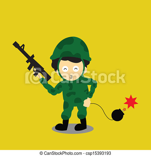 Soldier vector cartoon - csp15393193