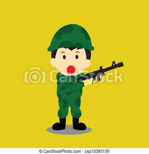Soldier vector cartoon - csp15393130