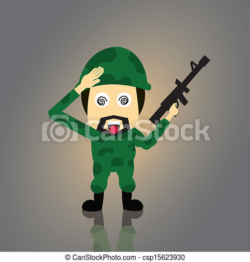 Soldier vector cartoon - csp15623930