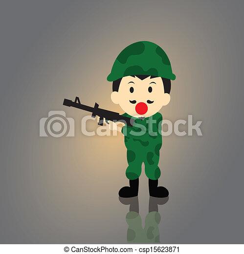 Soldier vector cartoon - csp15623871