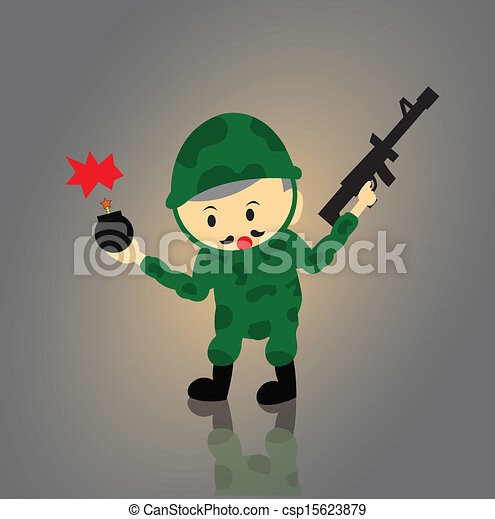 Soldier vector cartoon - csp15623879