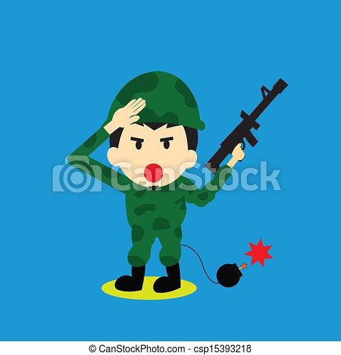 Soldier vector cartoon - csp15393218