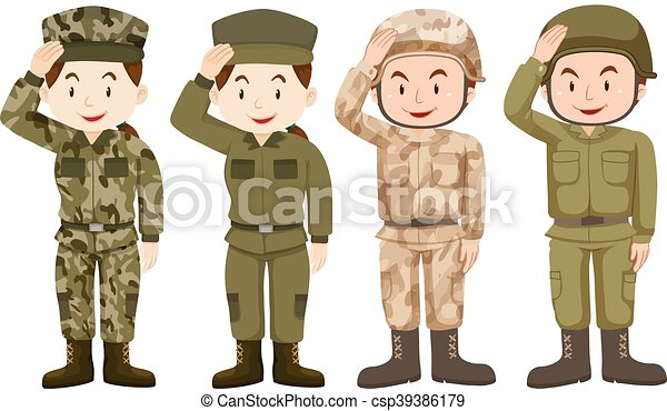 Line Art Uniform : Soldiers in green and brown uniform illustration vectors
