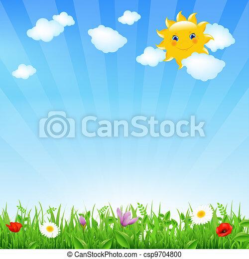 sole, cartone animato, paesaggio - csp9704800