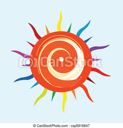 sole, colorito, icona - csp5916647