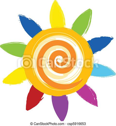 sole, colorito, icona - csp5916653
