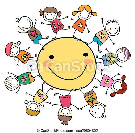 sole, felice, bambini, intorno, gioco - csp29804802