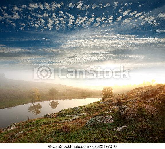 sole, fiume, salita, banca - csp22197070
