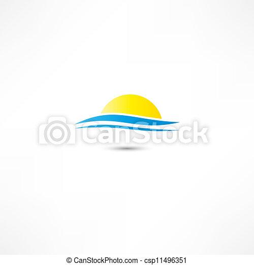 sole, illustrazione, vettore, salita, mare, onde - csp11496351