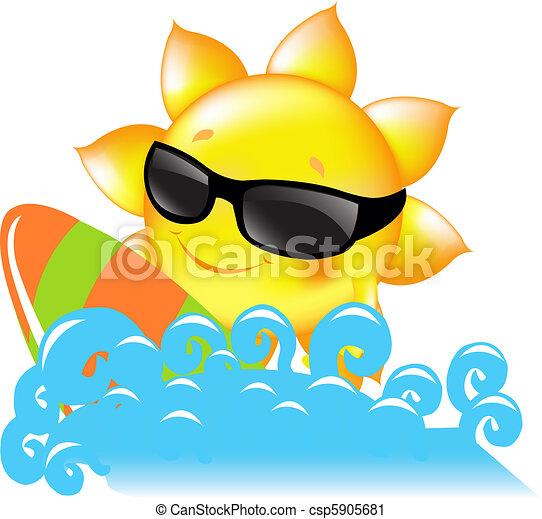 Sole mare surf sole assi vettore illustrazione clip for Mare clipart
