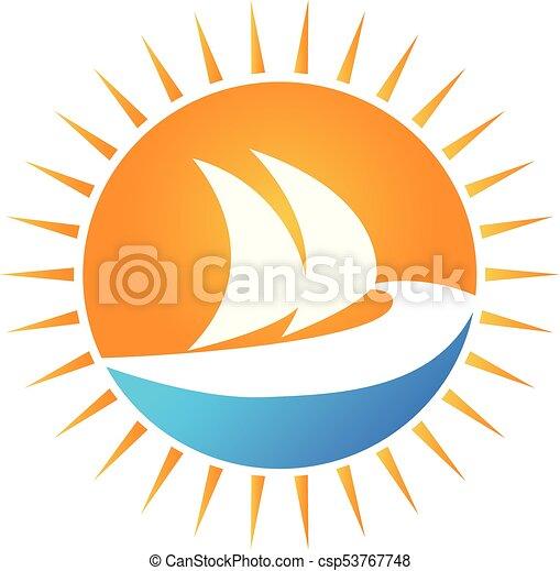 sole, vettore, barca, logotipo - csp53767748