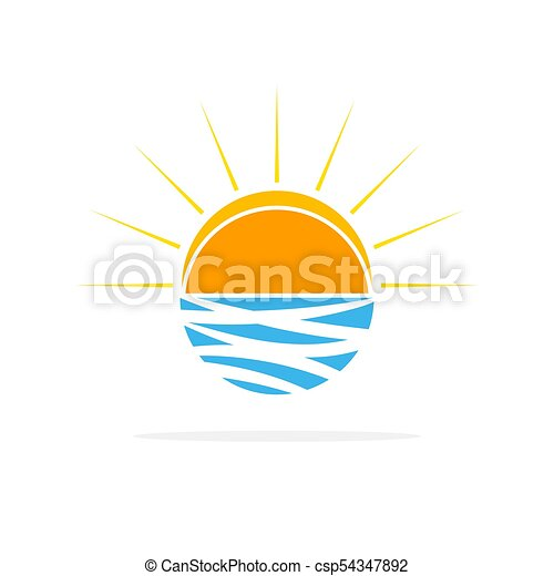 sole, vettore, logo., illustration., onde - csp54347892