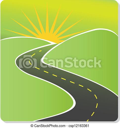 sole, vettore, strada, casato - csp12163361