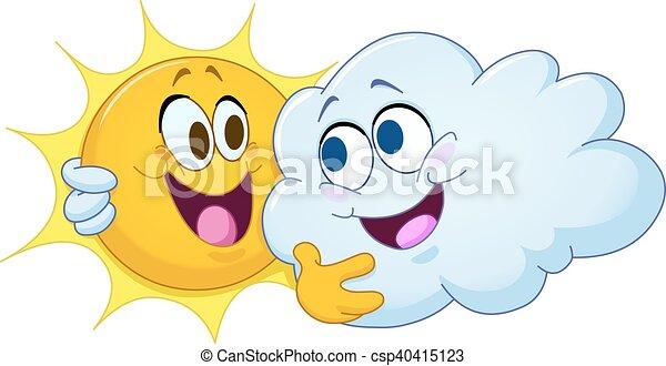 soleil, étreindre, nuage - csp40415123