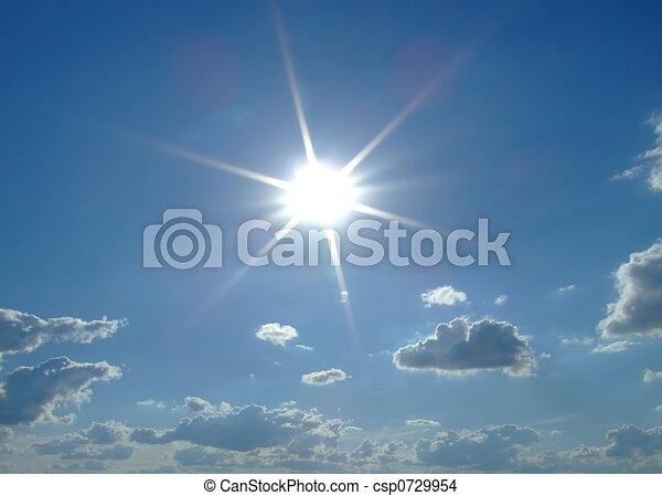 soleil, arrière-plan., nuages, ciel, ciel - csp0729954