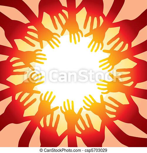 soleil, chaud, autour de, mains - csp5703029