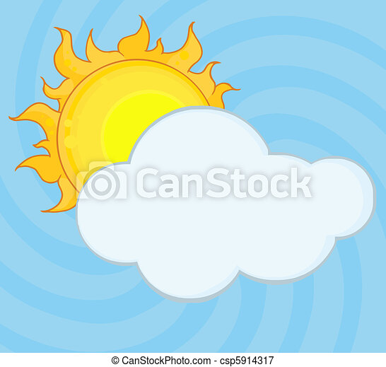 soleil, derrière, briller, nuage, dissimulation - csp5914317