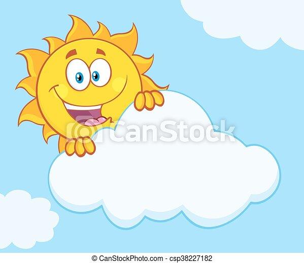 soleil, derrière, heureux, nuage, dissimulation - csp38227182