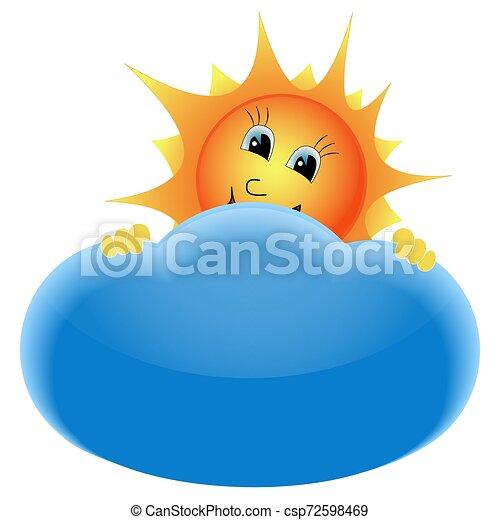 soleil, derrière, nuage - csp72598469