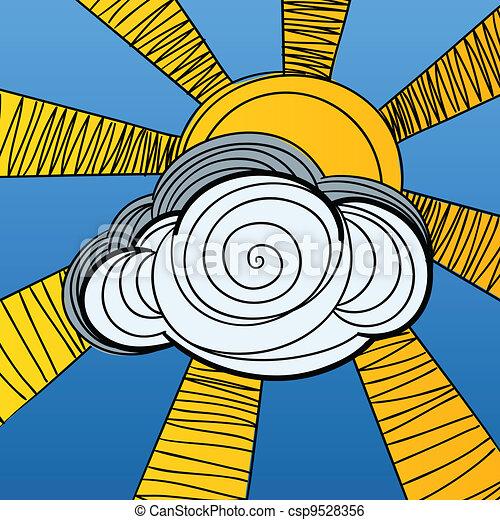 soleil, derrière, peaux, nuage - csp9528356