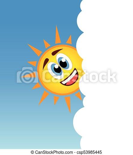 soleil, derrière, vecteur, sourire, nuage, heureux - csp53985445